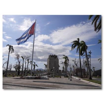 Αφίσα (δέντρο, σημαία, κάστρο, ήλιος, Κούβα)